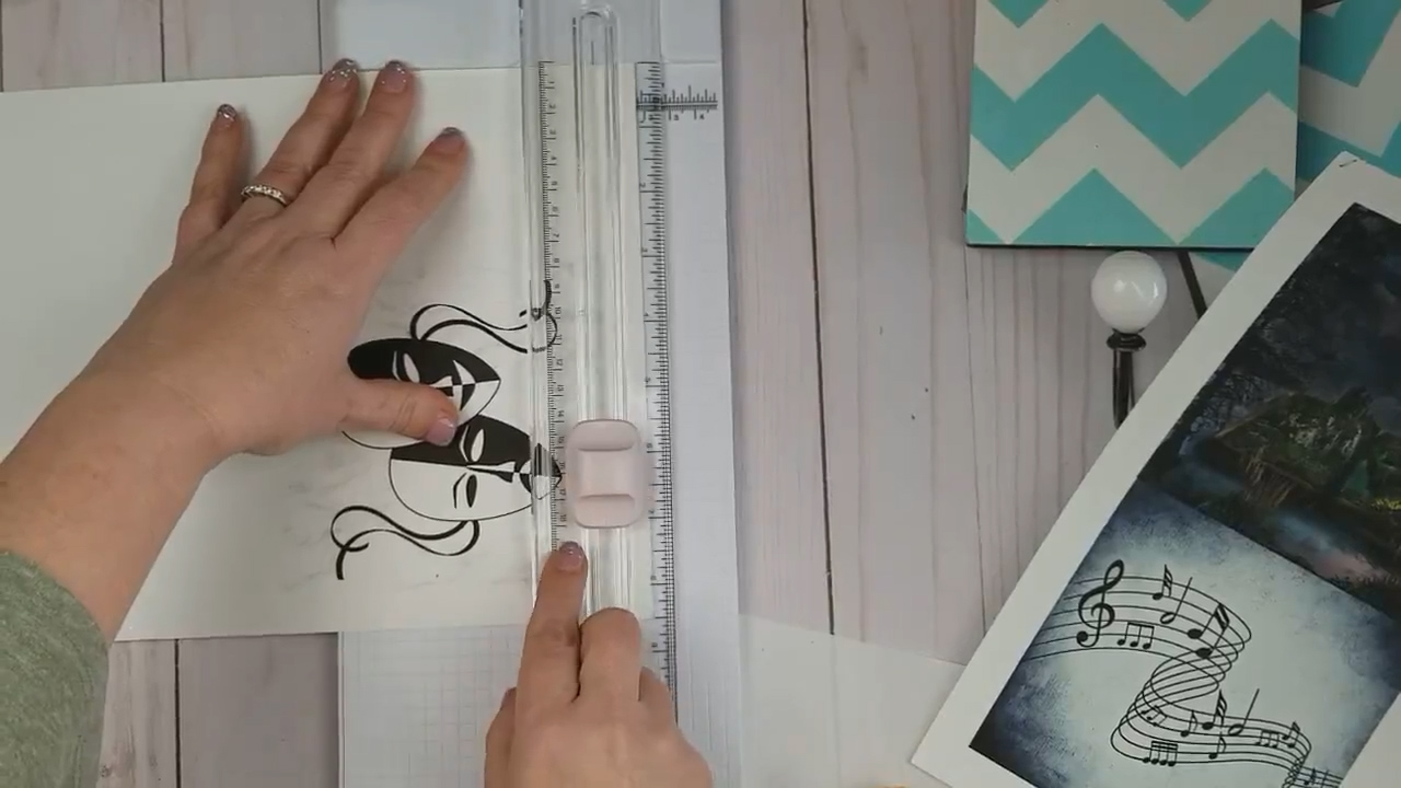 trimming cardstock for decoupage project