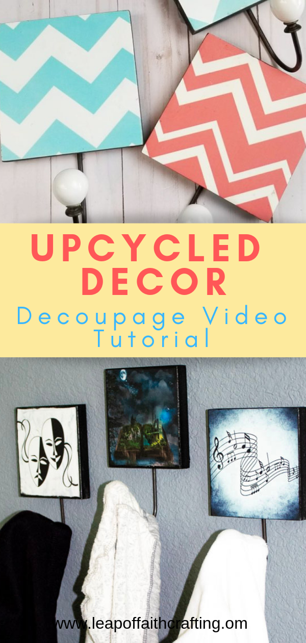 DIY decoupage ideas on wood with step by step pictures and videos!  Upcycle old decor! #decoupage #upcycle