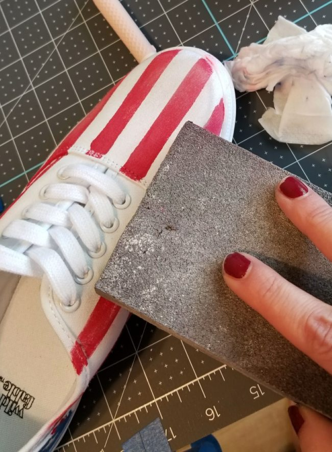 flag shoes with distressed chalk paint