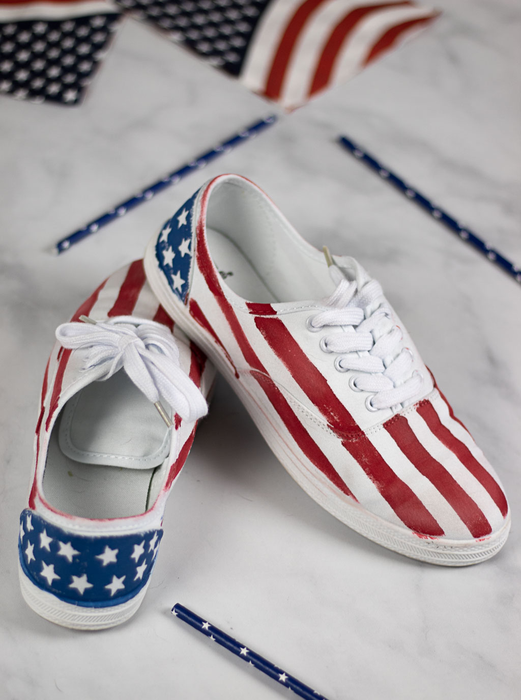 4th of july hand painted shoes