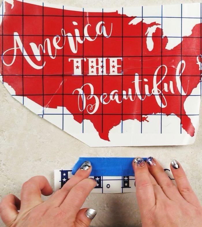 applying free patriotic svg file to tile