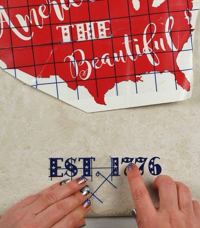 patriotic home decor diy vinyl on tile