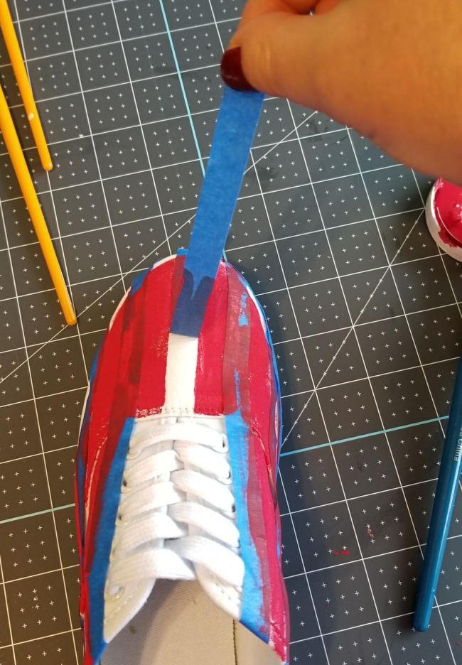 patriotic shoes using chalk paint