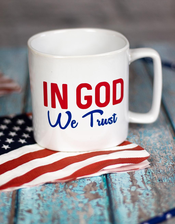 patriotic mug with adhesive vinyl