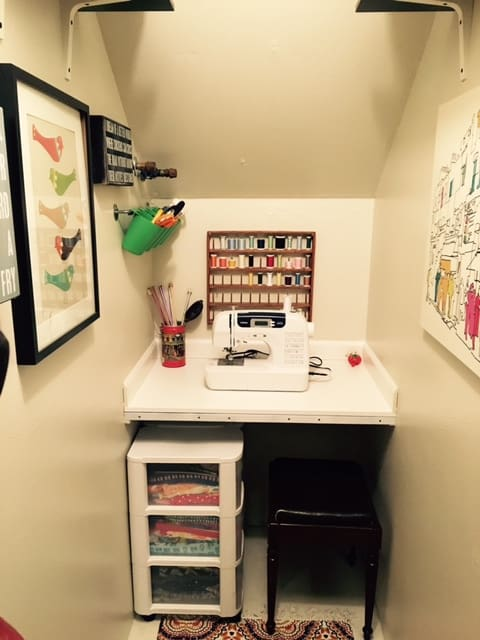 Sewing Closet Under the Stairs - The Girl Who Sewed