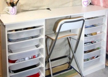 Amazing Ikea Craft Table Hack - made out of 2 Storage Shelves
