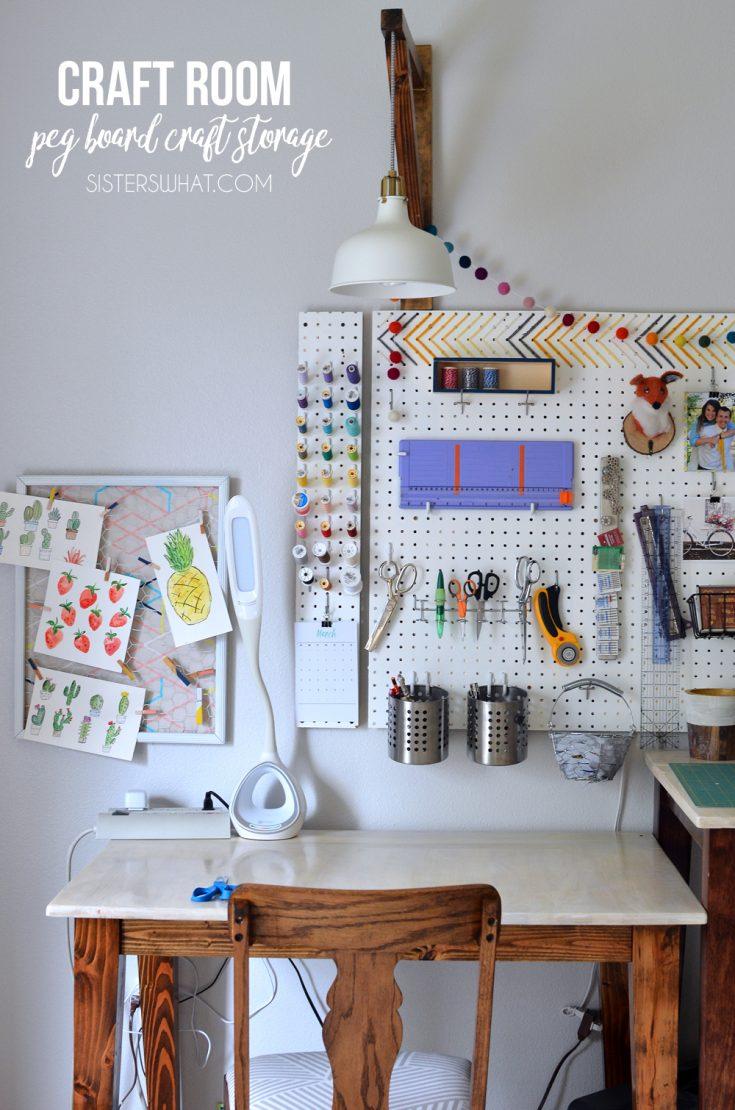 Craft Room Peg Board Craft Storage Tour