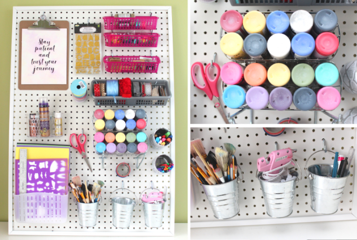 DIY Pegboard for Craft Room with Dollarstore accessories - IKEA HACK