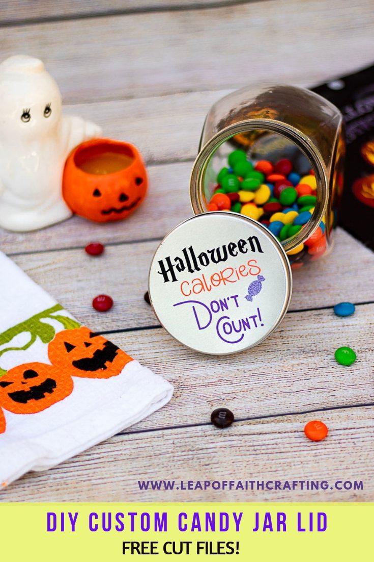 DIY Dollar Tree Halloween candy jar lid.  FREE Halloween SVG cut file to make a custom candy jar. #Dollartree #halloween