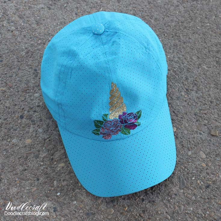 Unicorn Iron-on Vinyl Baseball Hat with Cricut!