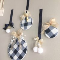 DIY Buffalo Check Embroidery Hoop Ornaments