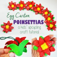 DIY Paper Poinsettias from Upcycled Egg Cartons