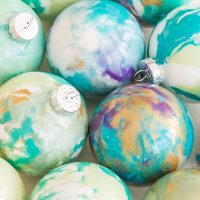 Homemade Christmas Ornaments - Marbled Baubles!