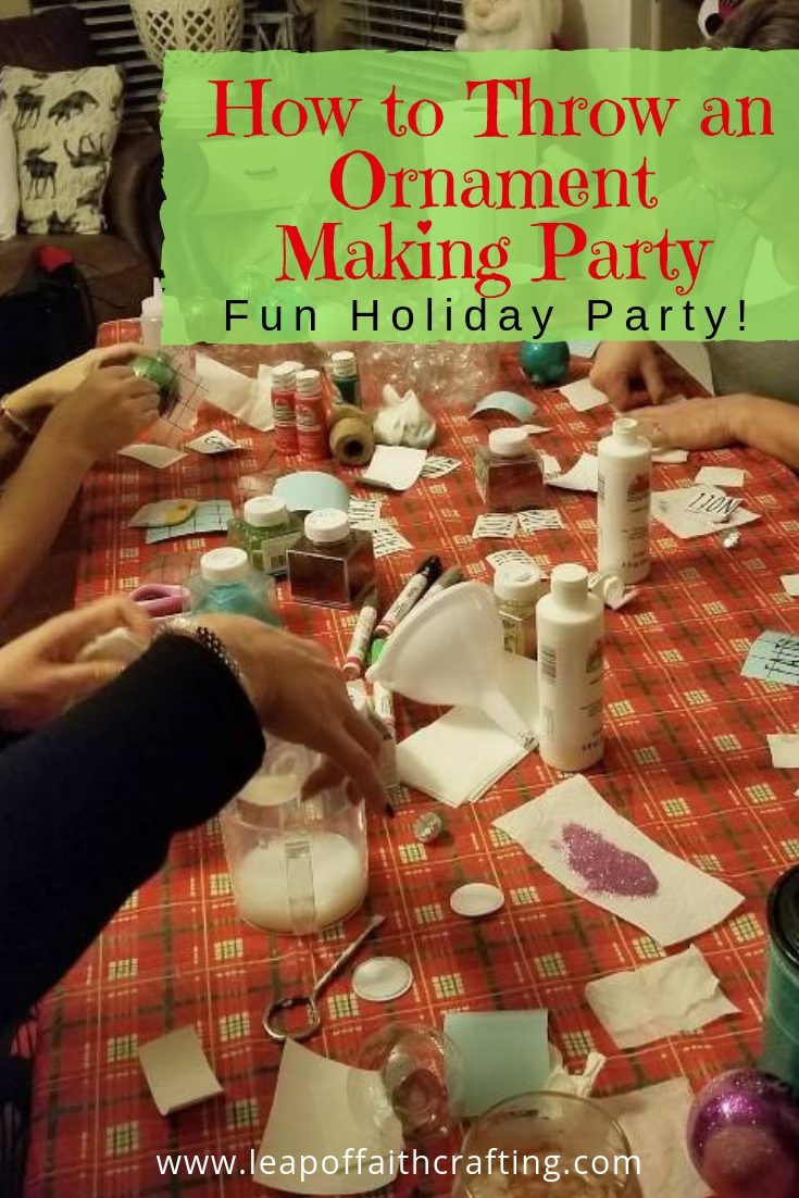 Throw a fun craft party for your friends for cheap!  Fun and festive holiday party involving ornament making.