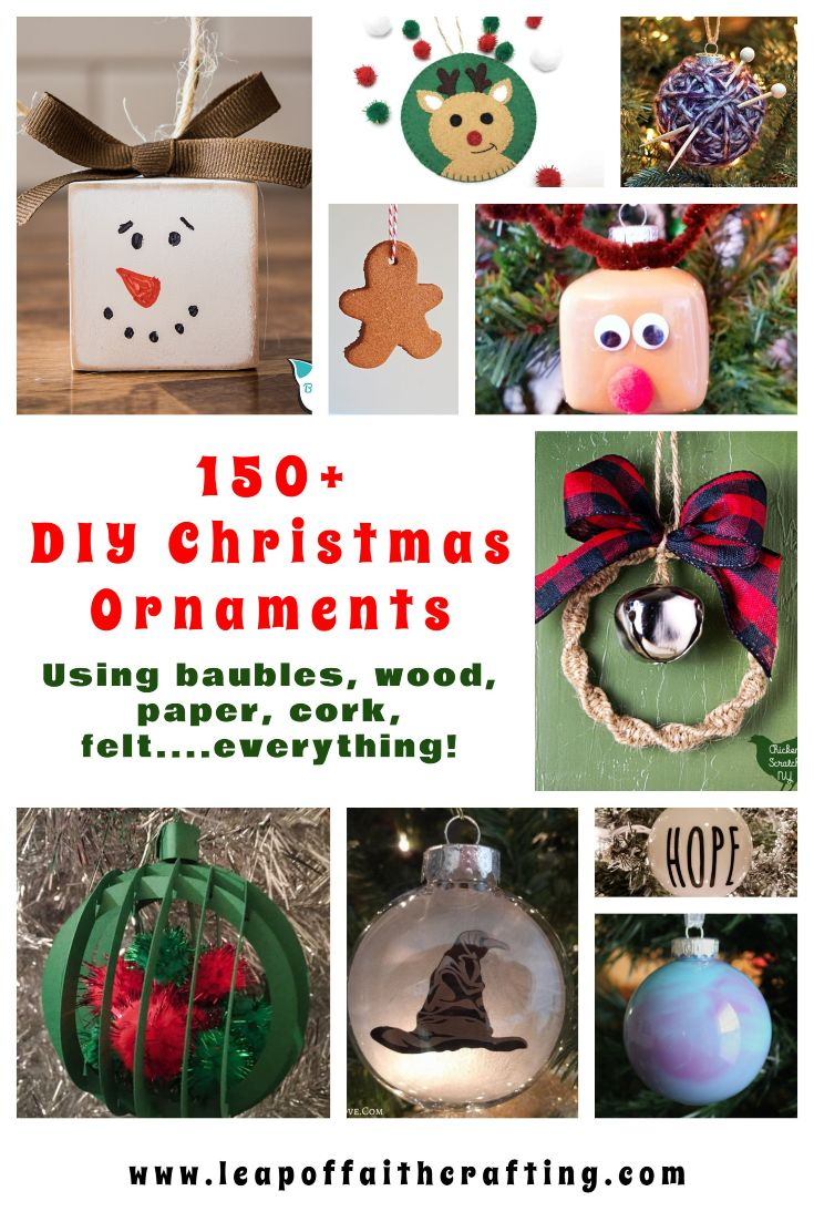 DIY Christmas ornaments to make at home! Browse how to make different kind of handmade ornaments that use baubles, wood, paper, corks, and more! #ornaments