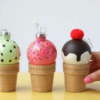 DIY: Ice Cream Cone Christmas Bauble Ornaments