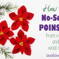 Make a no sew felt poinsettia from felted sweaters