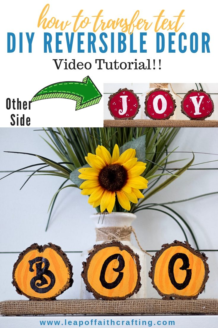 DIY budget holiday decor!  Make a reversible wood slice project to display for Halloween and Christmas.