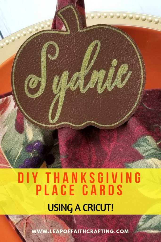 DIY Thanksgiving place card holders using a Cricut. Simple and frugal Thanksgiving decor! #thanksgiving #cricut