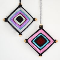 Woven Hopi Eye Yarn Christmas Ornaments – for kids!