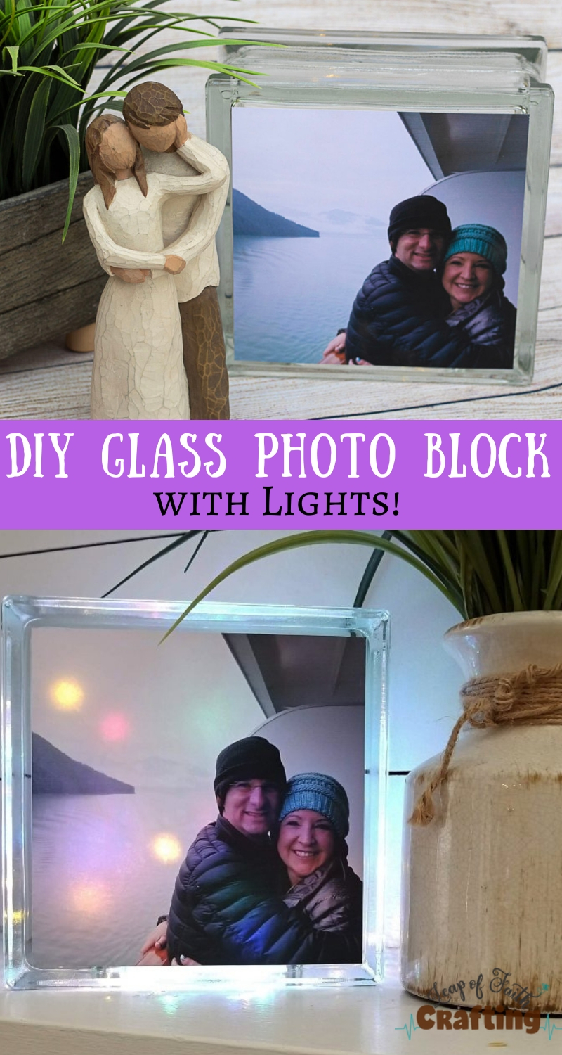 DIY glass photo block using printable vinyl and a glass craft block. Easy and quick DIY gift idea!