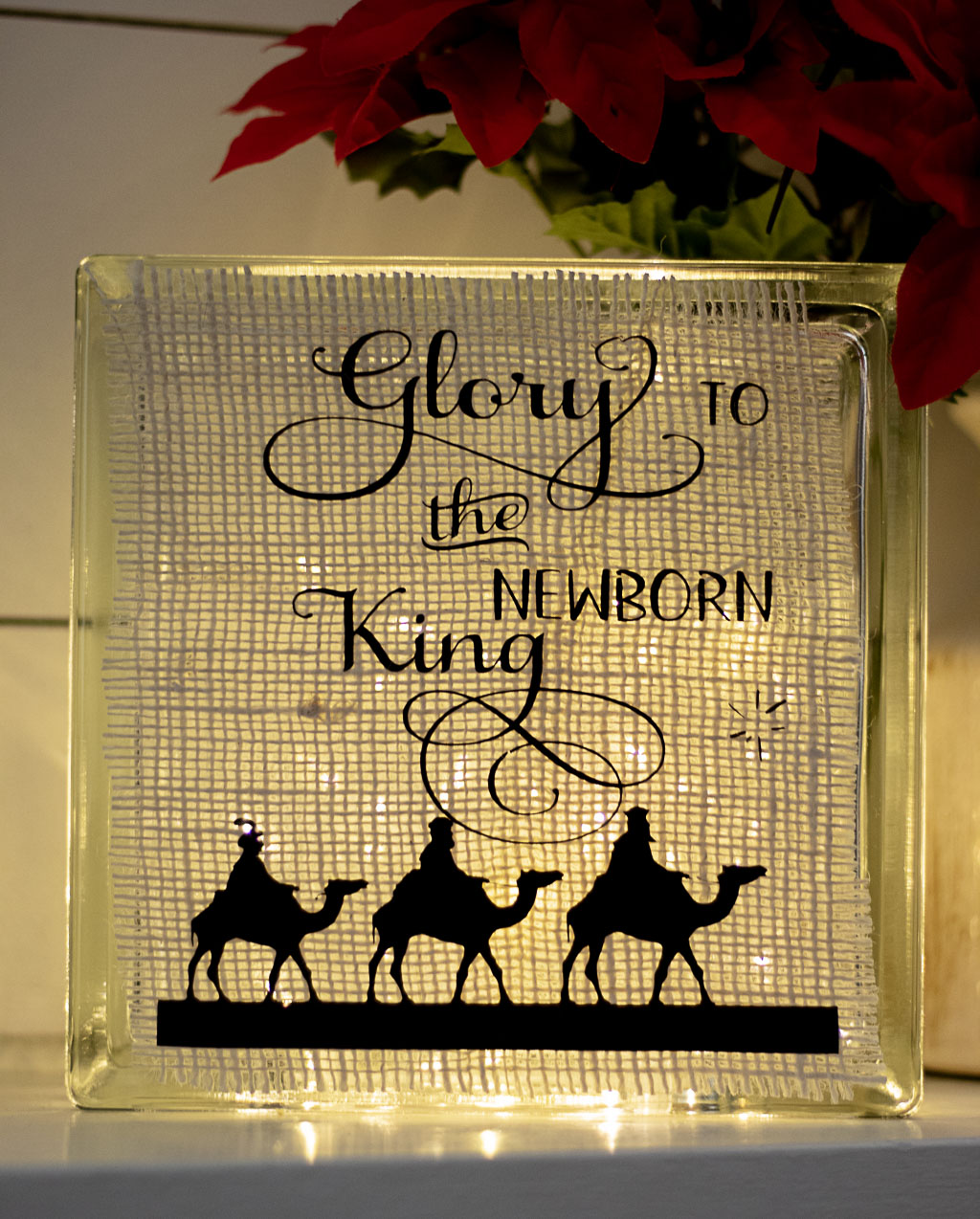 lighted glass block with burlap