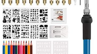 56PCS Wood Burning Kit, Pyrography Pen with Adjustable Temperature for Wood Burning/Carving/Embossing/Soldering+ Soldering Tips + Stencil + Stand + Carrying Case