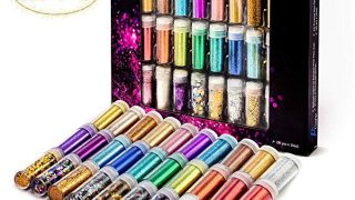30 Luxury Colors of Ultra, Extra Fine, Large, and Chunky Non Toxic Glitter Set with Heart Star Shape - for Slime, Scrapbook, Party Invitation, Face, Body, Nail Arts, Festival, and Child's Fun Craft