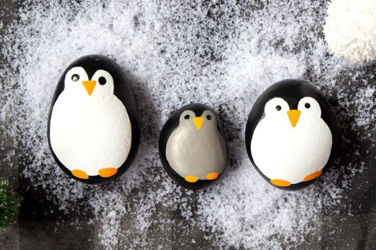 Penguin Painted Rocks, Christmas Rock Painting Craft