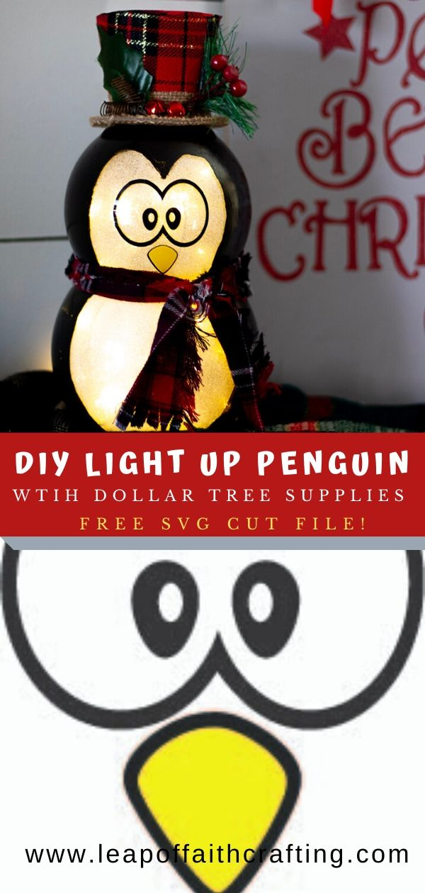 diy glass penguin christmas decoration with free SVG file