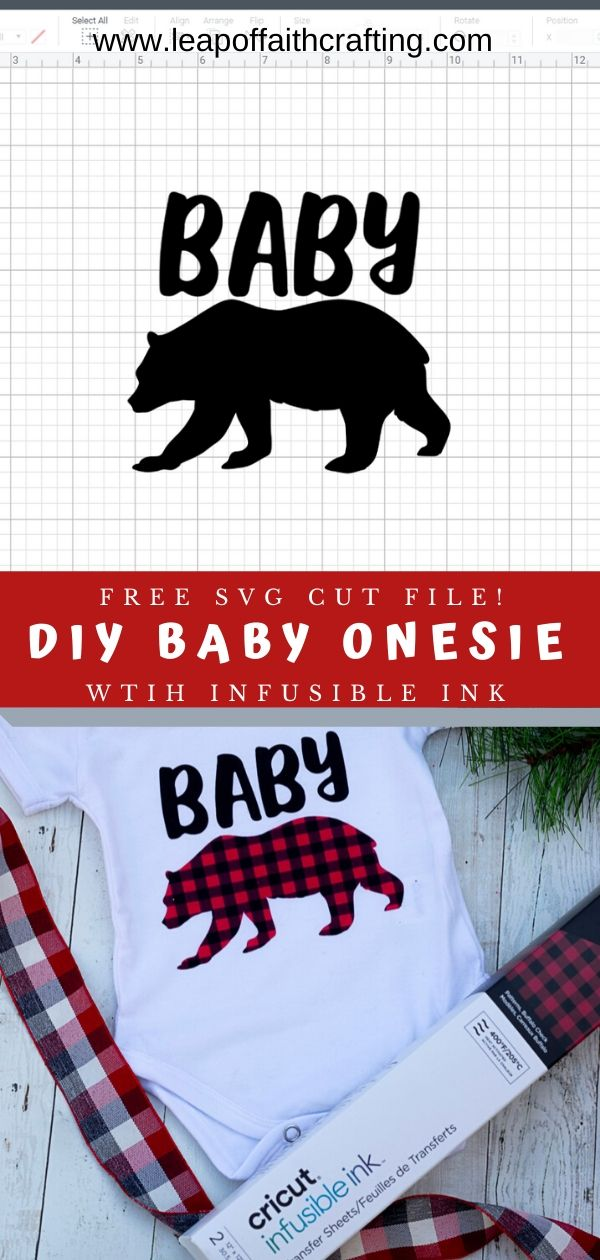FREE Baby Bear SVG file to make a cute DIY baby onesie with buffalo plaid Infusible Ink.