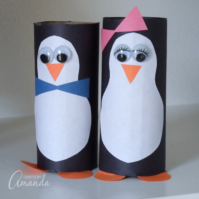 Cardboard Tube Penguins - an adorable kid's craft for winter