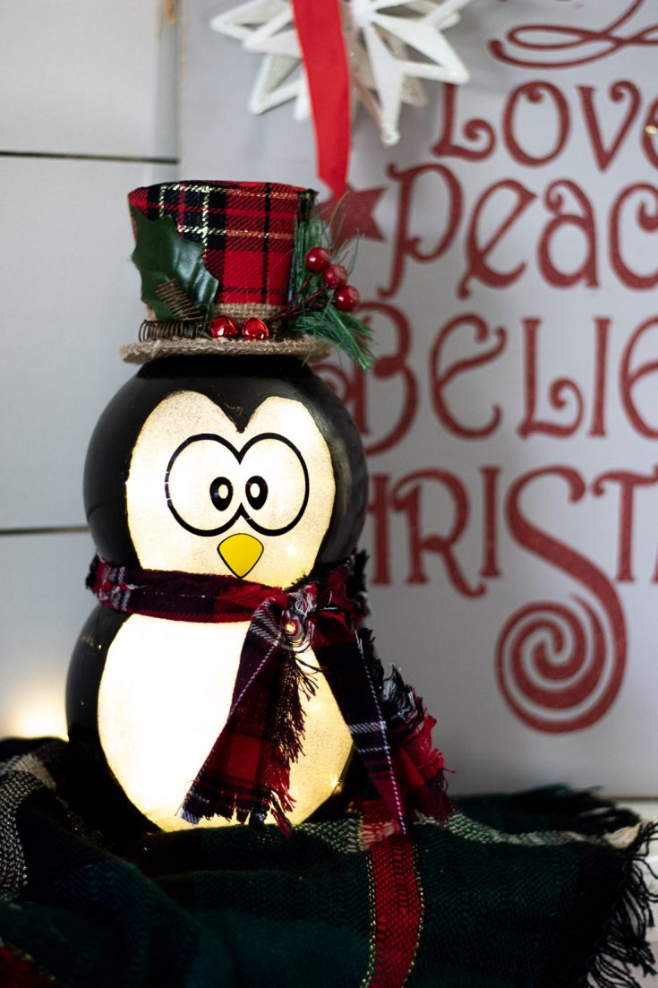 Penguin Christmas Decoration:  Dollar Tree DIY Light Up Penguin!
