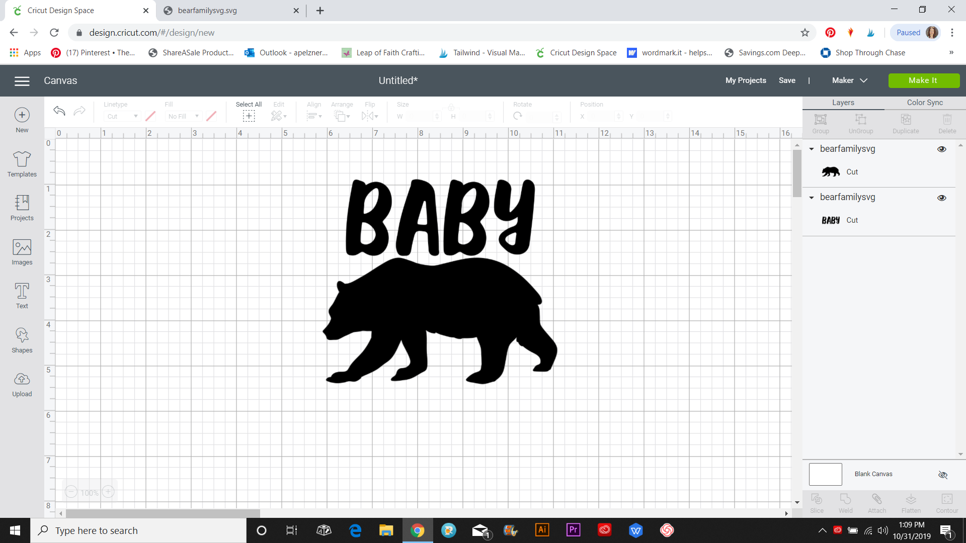 baby bear SVG in CDS