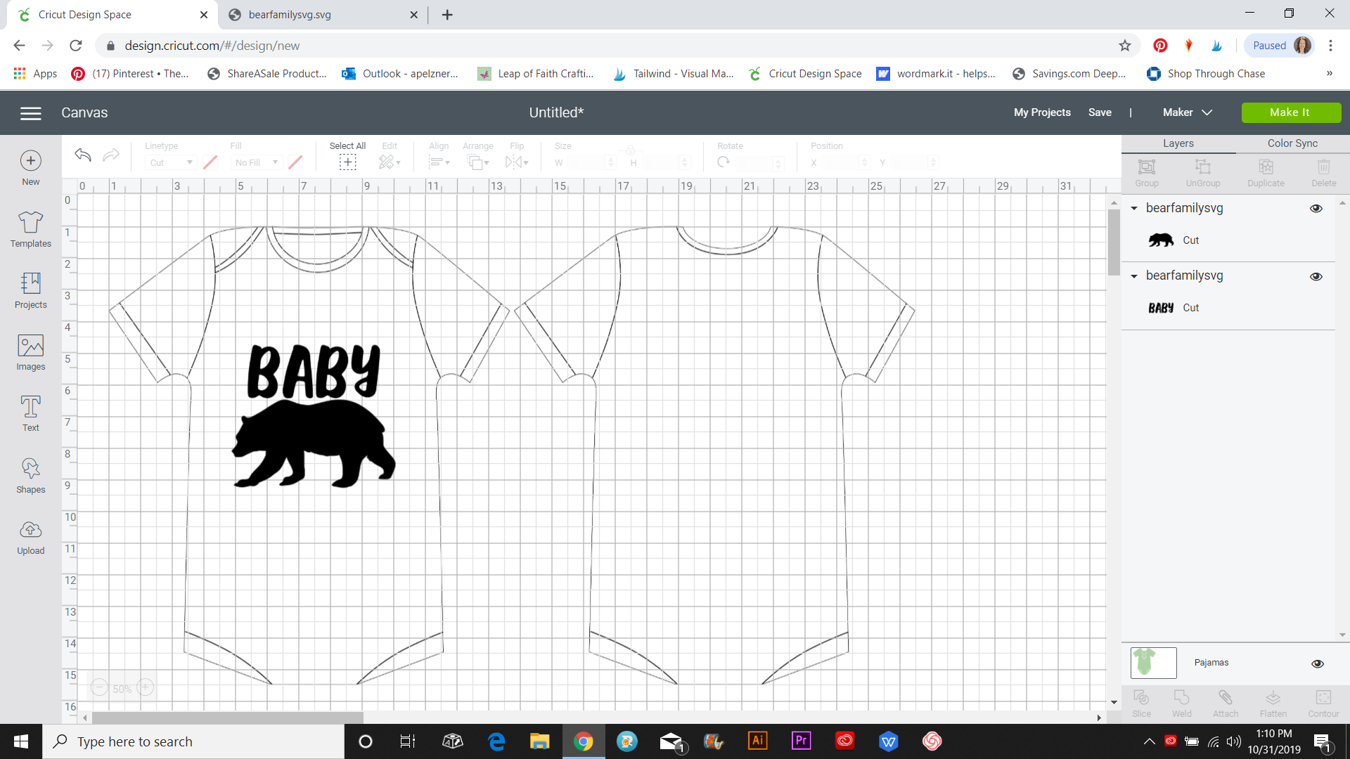 onesie template in cricut design space
