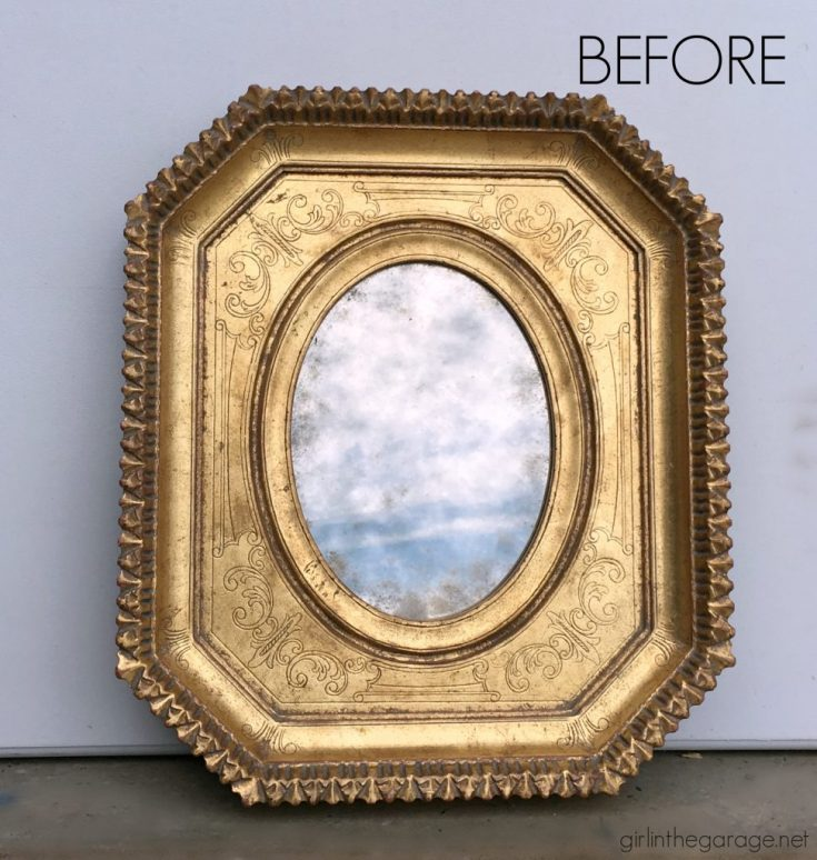 Painted Mirror Makeover with Image Transfer