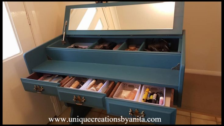 How to Repurpose an old desk into a Makeup Table/Vanity Table