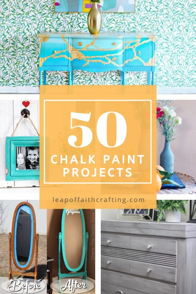 50 ideas for Chalk Paint uses! Get inspiration on updating furniture, glass jars, frames, and home decor!