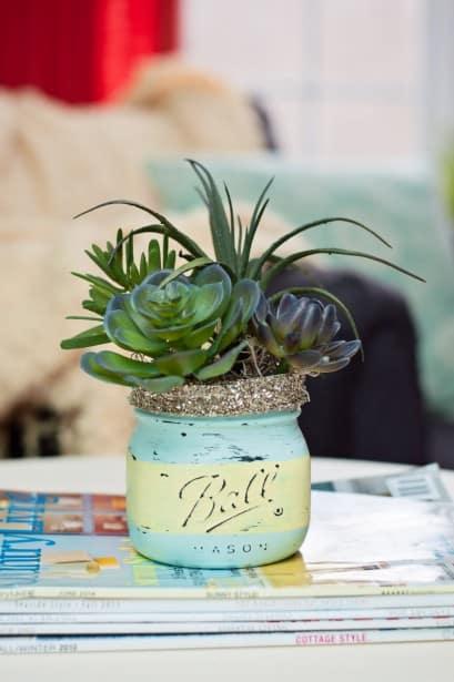 Chalk Paint Mason Jars with Succulents