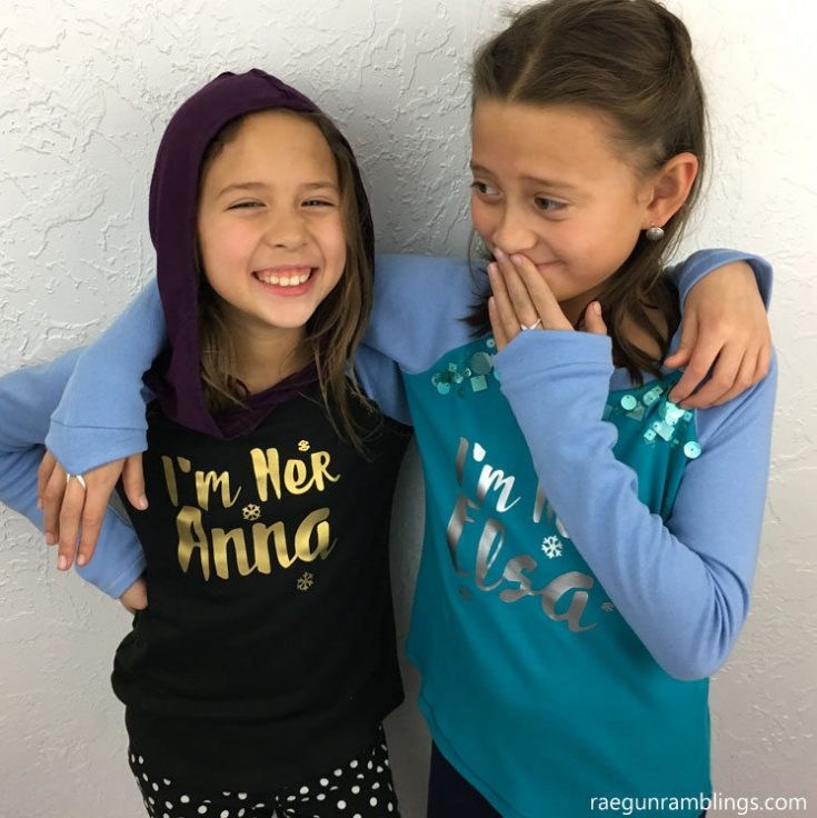 DIY Elsa and Anna Sister Shirts with Cricut