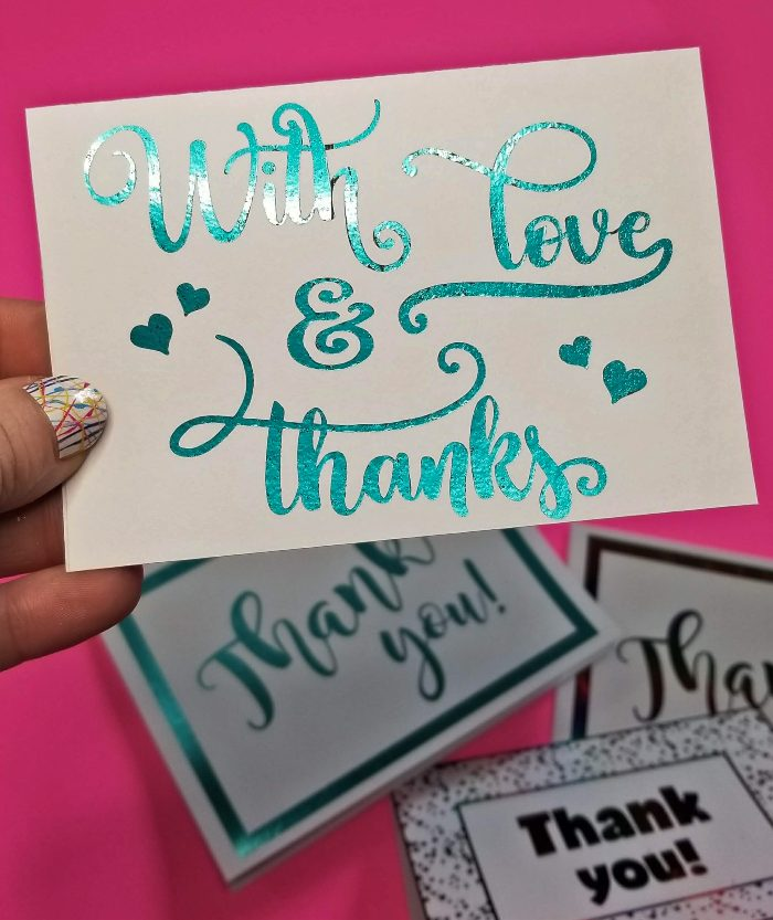 free printable thank you cards with craft foil