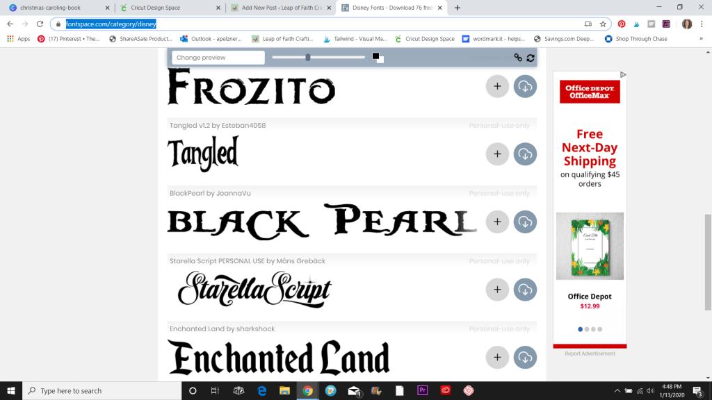cricut disney font