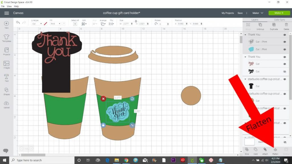 flatten cricut design space