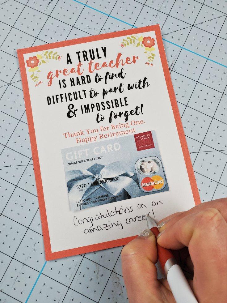 teacher retirement card