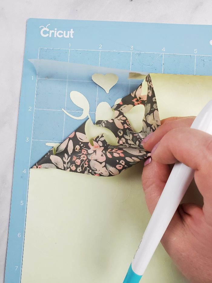 weeding patterned heat transfer vinyl