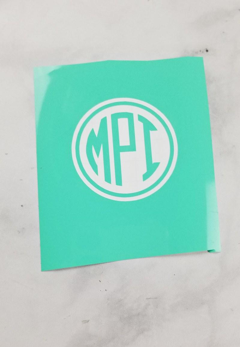 glass etching stencil monogram