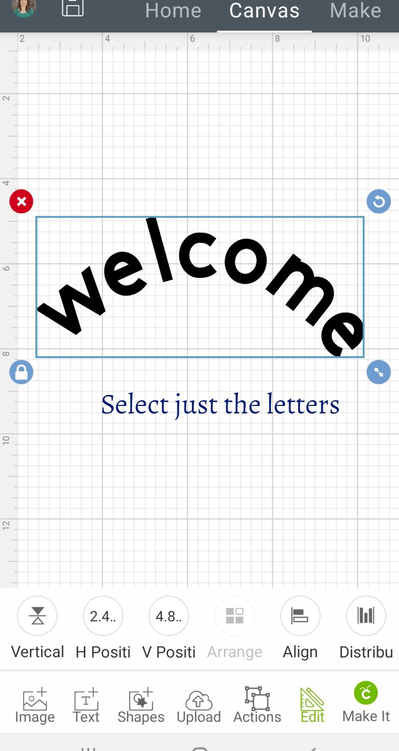 how to curve text on cricut design space ipad