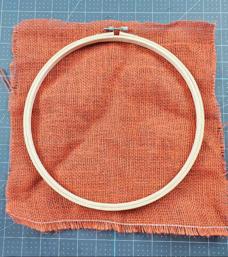 burlap embroidery hoop