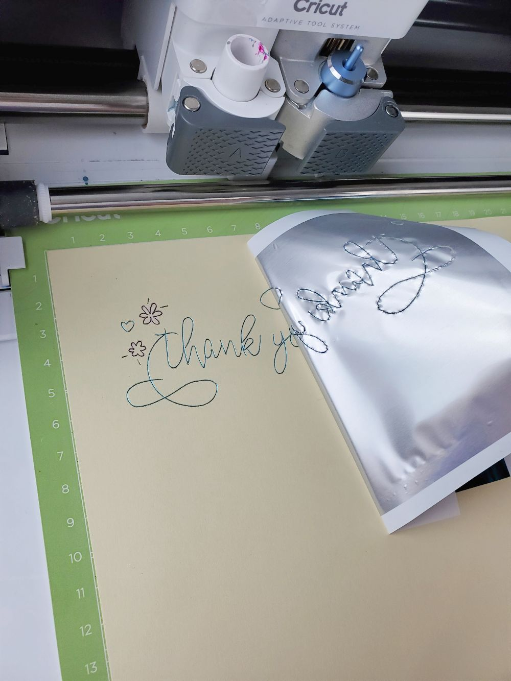 cricut foil thank you card