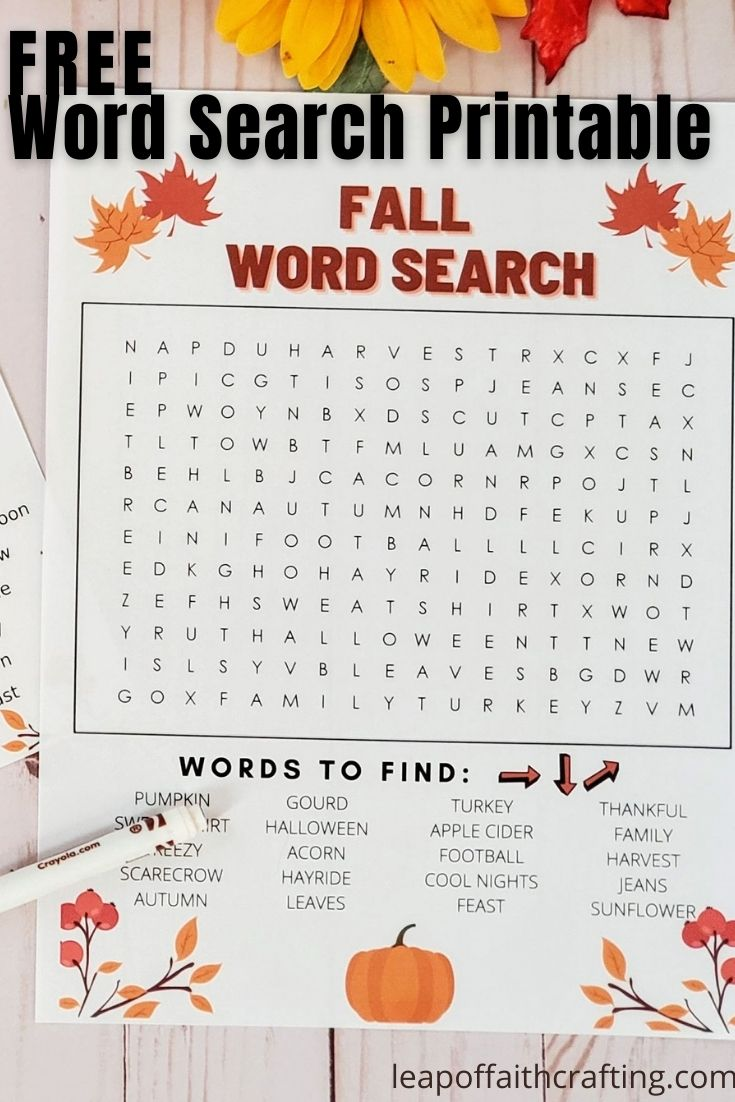 Fall Word Search PDF: Two FREE Printable Word Search to ...